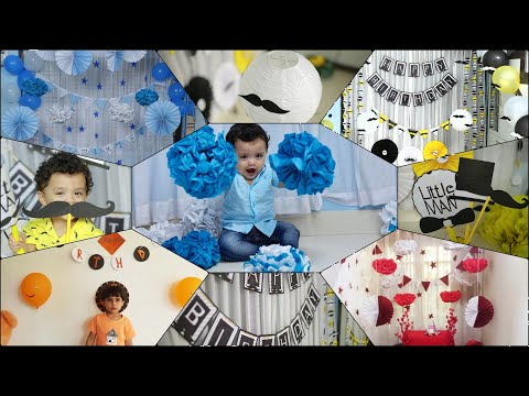 5 DIY B'DY Decoration Ideas at Home/POM POM Flower/LittleMan Mustache Banner & Hanging/Paper Rosette