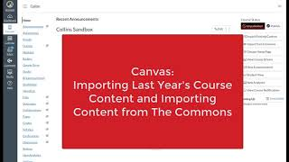 Canvas: Importing Content to a Course