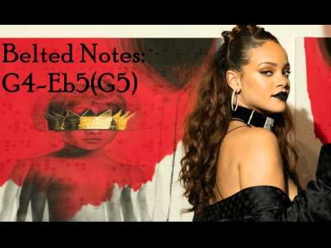 Rihanna - ANTI Vocal Range B2 - Eb5(G5) - C#6