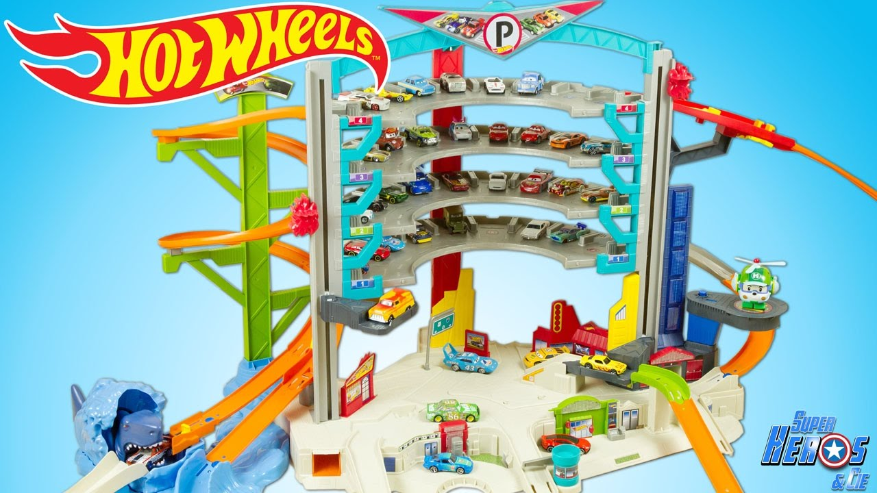 hot wheels ultimate garage playset with shark attack toy cars review juguetes youtube. Black Bedroom Furniture Sets. Home Design Ideas