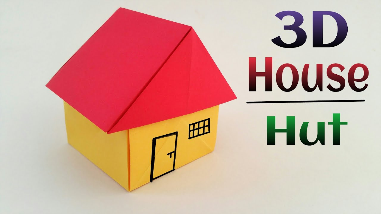 3d house hut diy origami tutorial by paper folds for Build a 3d house online