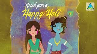 Holi animated card | Radha Krishna playing Holi | Holi whatsapp status video