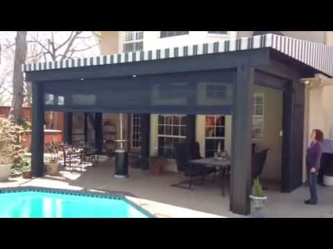 High Wind Sun Shade Patio Enclosure - motorized drop curtains by Southern Patio Enclosures