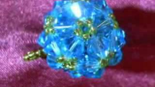 Hand Woven Beaded Ball Pendant - Blue