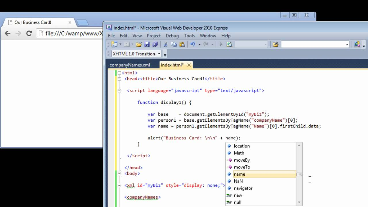 Read / Access XML Data With DOM: XML & Javascript