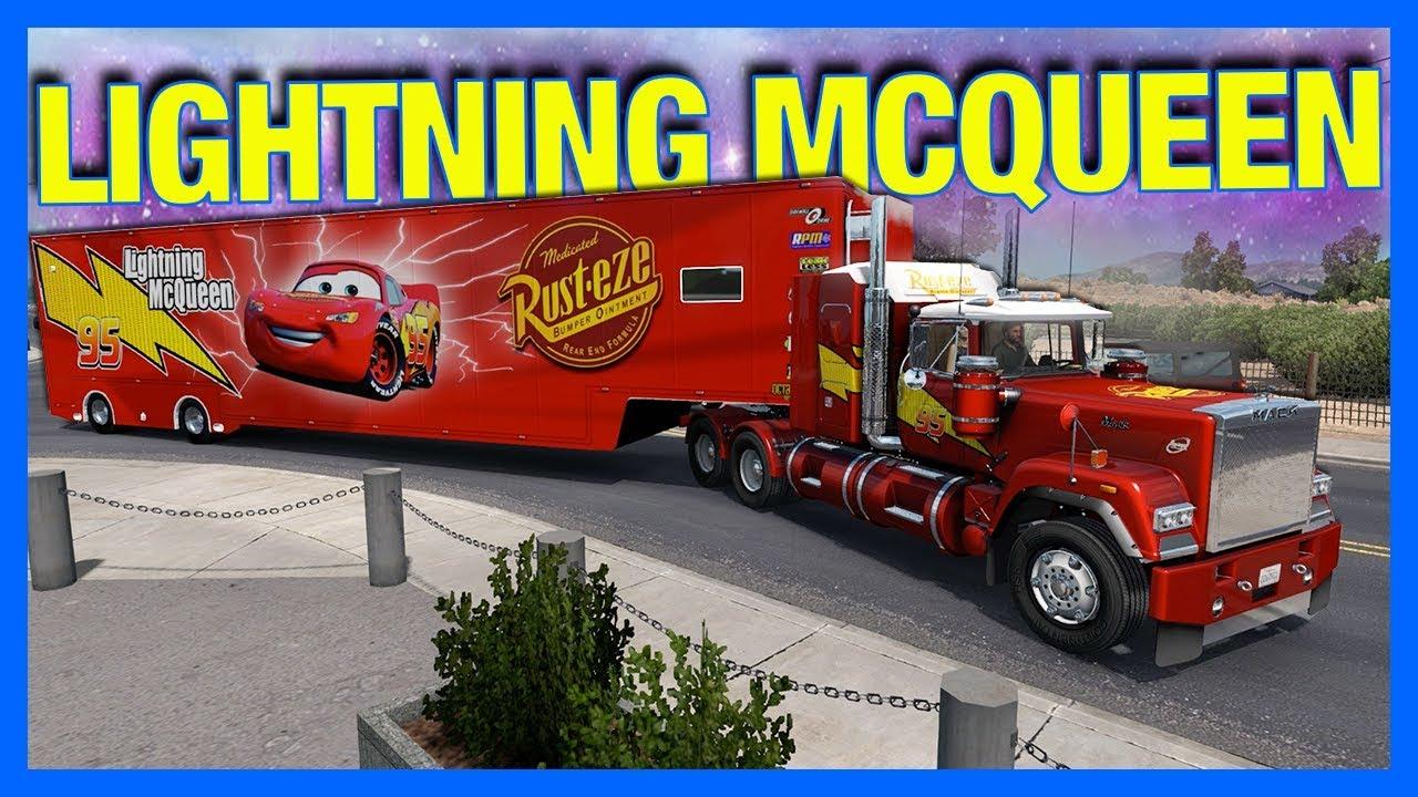 MACK TRUCK DELIVERS LIGHTNING MCQUEEN!! (American Truck ...