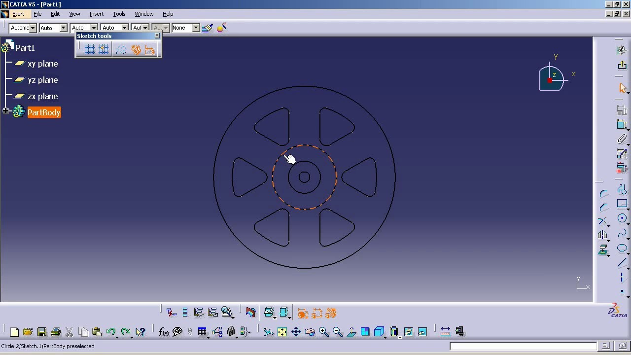 CATIA V5 - How to Transfer 2D elements to Part Sketcher