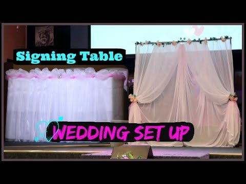How to Set up Wedding Backdrop and Signing Table