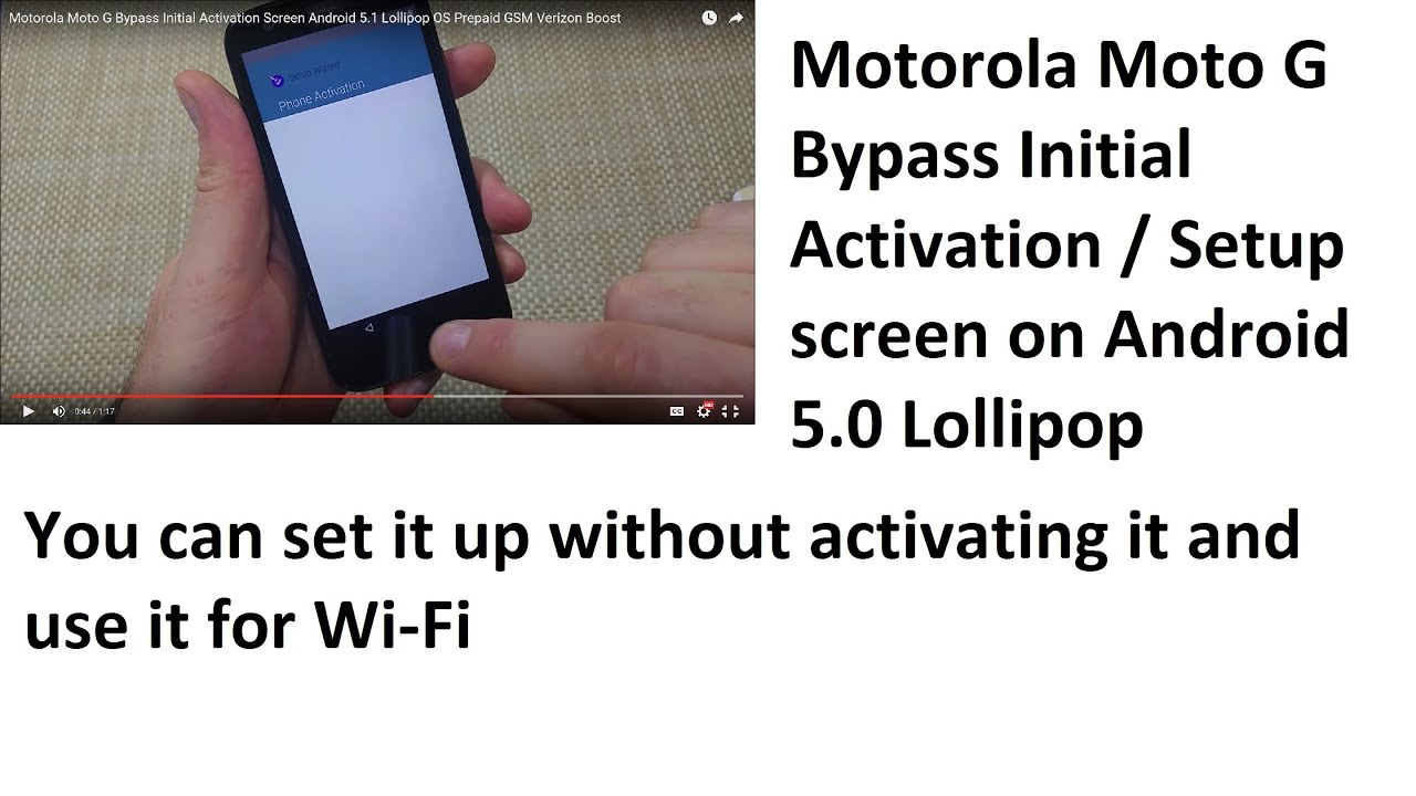 Motorola Moto G Bypass Initial Activation Screen Android 5 1 Lollipop OS  Prepaid GSM Verizon Boost