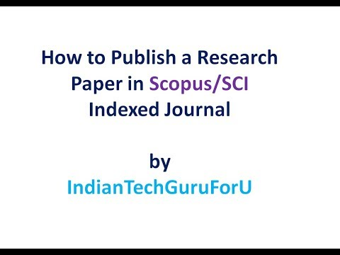 How to publish a Research Paper in Scopus SCI indexed