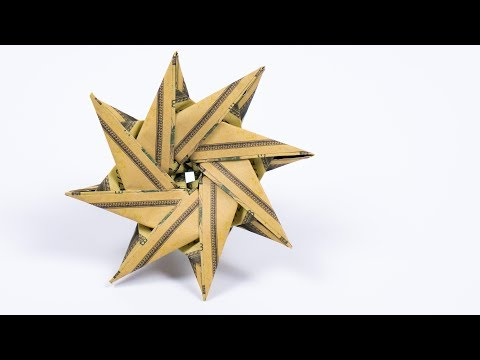 MONEY Origami STAR folding as Christmas gift, DIY instructions