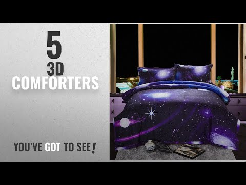 Top 10 3D Comforters  [2018]: Galaxy 3D Printing Never Fade Quilt Outer Space Comforter Sets With 2