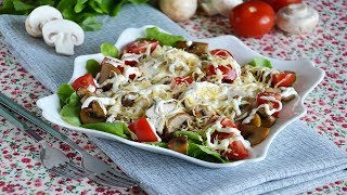 Салат с куриной грудкой и шампиньонами