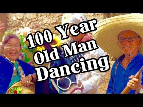 100 Year Old Man Folk Dancing In Patzcuaro, Morelia, Queretaro,San Miguel, Michoacan Mexico