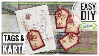 3 TAGS / Geschenkanhänger + 1 Karte basteln mixed media DIY IDEE + Kreativ-Vlog [Tutorial   deutsch]