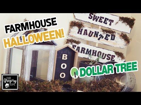 DIY DOLLAR TREE FARMHOUSE HALLOWEEN DECOR! | SWEET HAUNTED FARMHOUSE SIGN