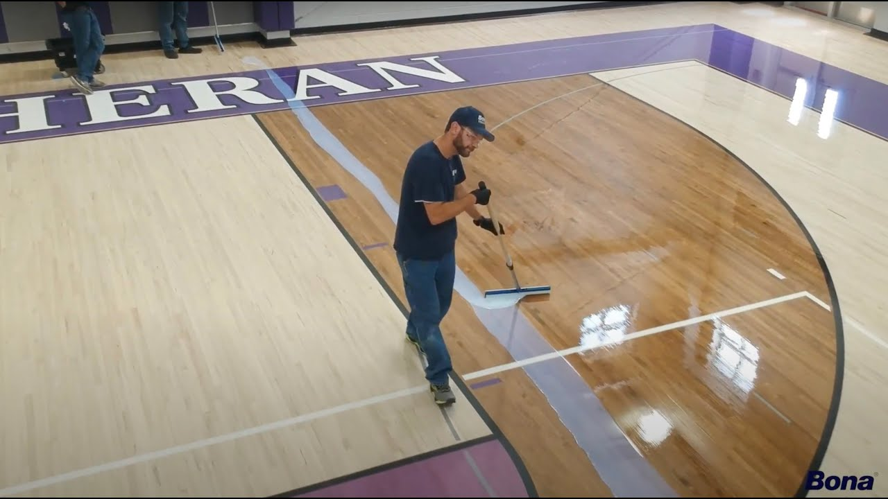 How to recoat wood gym floors with bona supercourt waterborne