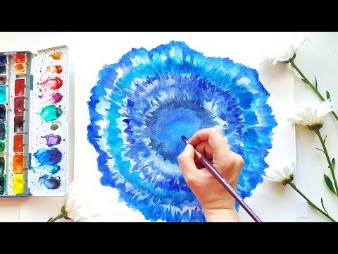 DIY Blue Agate Watercolor Art - Simple Painting Ideas for Modern Room Decor 2019