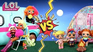LOL Dolls Goldie & Punk Boi Camping Vs LOL OMG Camper