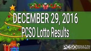 PCSO Lotto Results December 29, 2016 (6/49, 6/42, 6D, Swertres & EZ2)