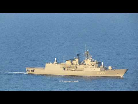 Hellenic Navy HS Spetsai F453 southbound Chios Strait in Aegean Sea.
