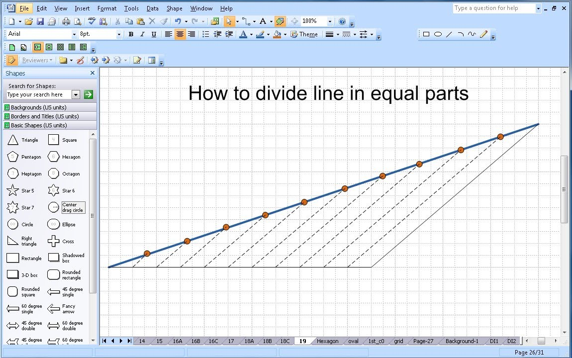 Visio Drawing Lines With Curves : Microsoft visio how to divide line into equal parts