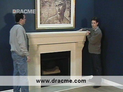 less than 1 hour installation Three Piece Dracme Cast Stone Fireplace Mantel 1-877-990-8635