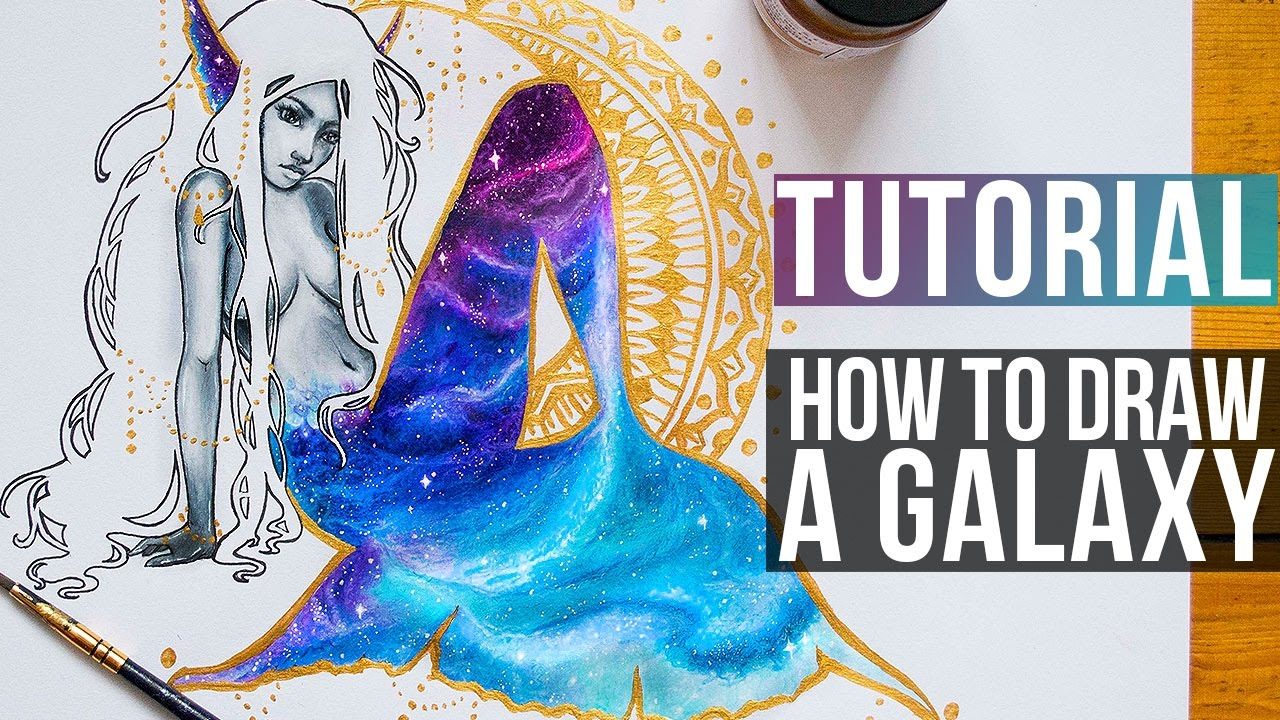 How to draw galaxy with coloured pencils