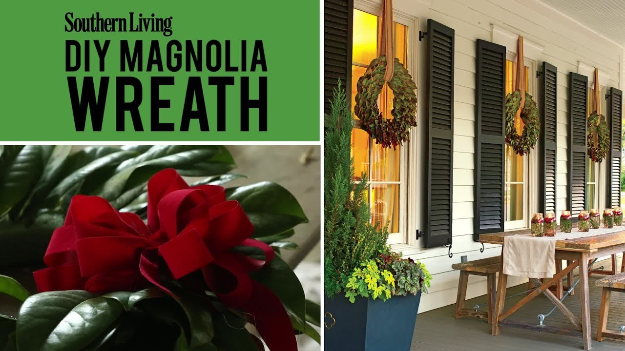 Diy magnolia wreath christmas wreath youtube for Southern living login