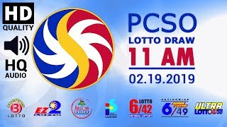 PCSO LOTTO RESULT 11AM   FEBRUARY 19 2019