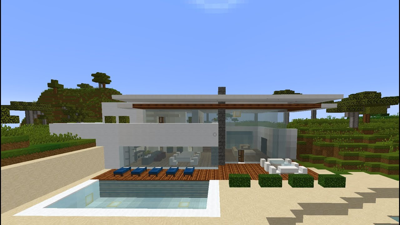 minecraft simple modern safari housevillaestate by the seaocean on the beach tutorial youtube