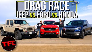 Can a Little Turbo Spank the V6 Trucks? We Drag Race a Ranger, Gladiator, and Ridgeline to Find Out!