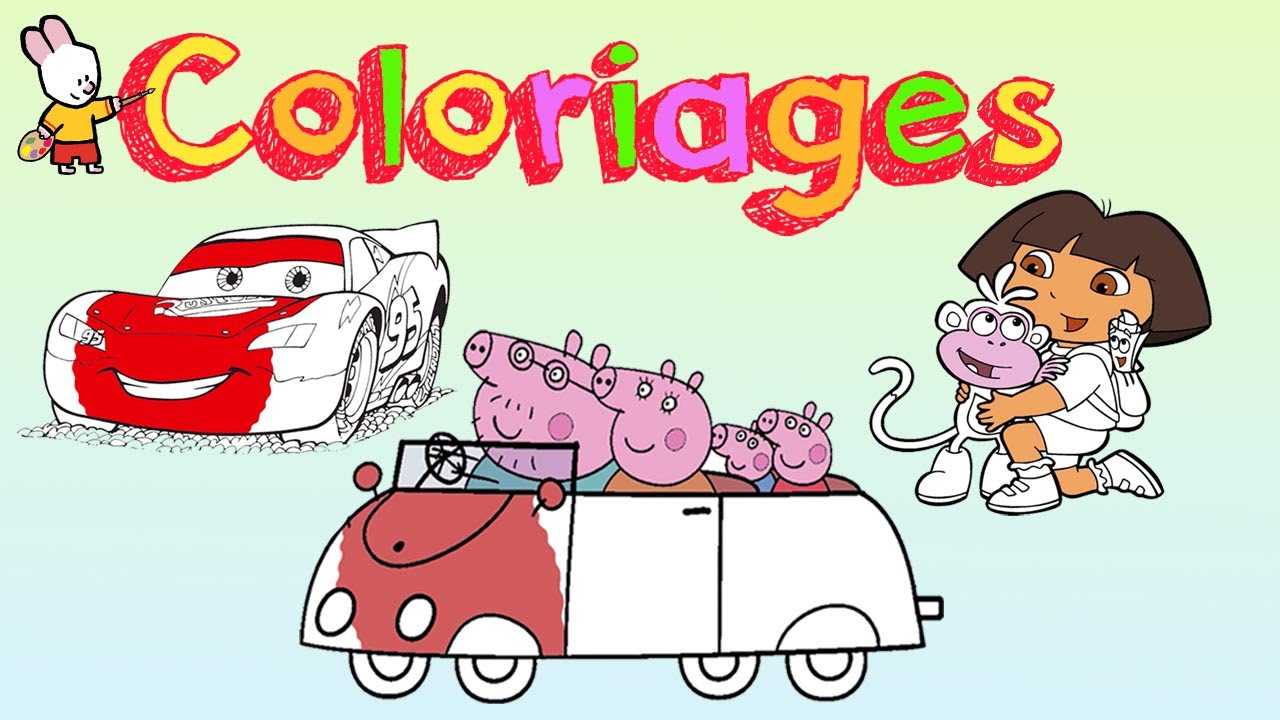 Peppa pig cars dora l 39 exploratrice cahier de coloriage 1 youtube - Coloriages peppa pig ...