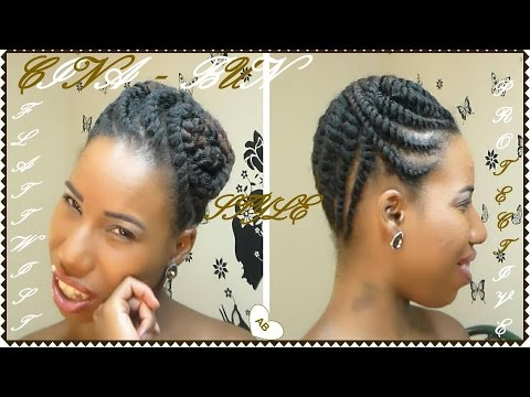 Flat Twist Protective Style Cina Bun Short Medium Natural Hair