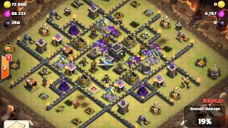 Clash of Clans Golem, Wizard and Hog Riders Attacking Strategy TH9