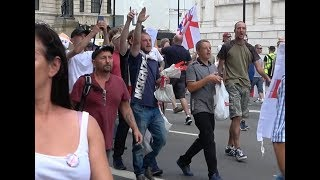 Tensions and tempers run high on pro-Trump, pro-Tommy Robinson rally