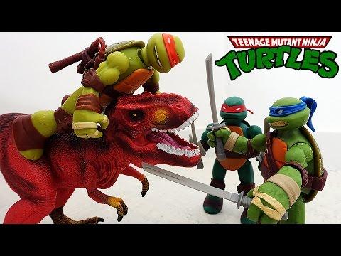 ЧЕРЕПАШКИ Ниндзя против ДИНОЗАВРОВ. Тираннозавр Рекс нападает на Черепашек Ниндзя Игрушки ТВ #тирекс