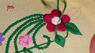 Bead stitch(moti tanka) satin stitch | hand embroidery