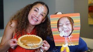 Pumpkin Pie Face Challenge!  (Haschak Sisters Rematch)