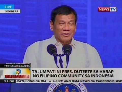Talumpati ni Pres. Duterte sa harap ng Filipino community sa Indonesia