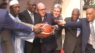 Sport / Basket Ball : Pose de la première pierre du siège FIBA Afrique