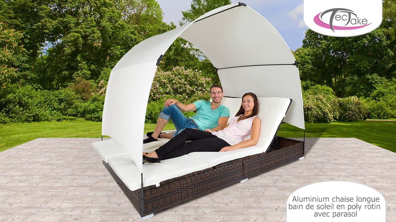 tectake aluminium chaise longue bain de soleil en poly rotin avec parasol youtube. Black Bedroom Furniture Sets. Home Design Ideas