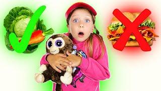 История для детей как правильно питаться и заниматься спортом Darja and her funny monkey