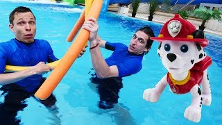 Школа героев Акватим в аквапарке. - Щенячий патруль в бассейне.