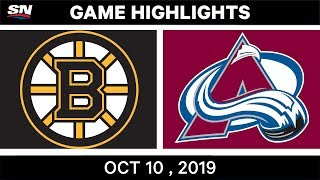 NHL Highlights | Bruins vs. Avalanche - Oct. 10, 2019