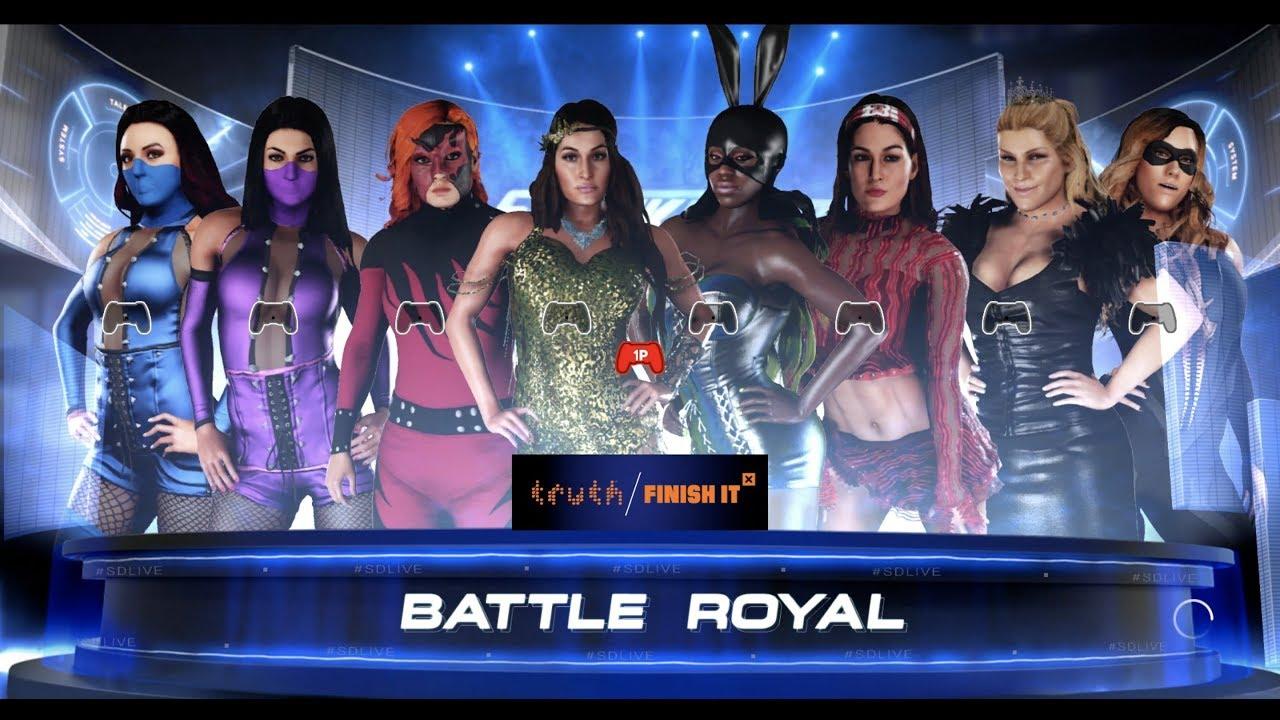 8 woman smackdown halloween battle royal wwe2k18 - youtube