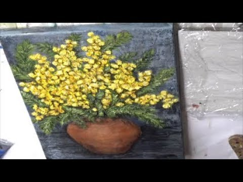 Mimosa Flower/Texture Techniques/Flowers Acrylic Painting Techniques/MariArtHome