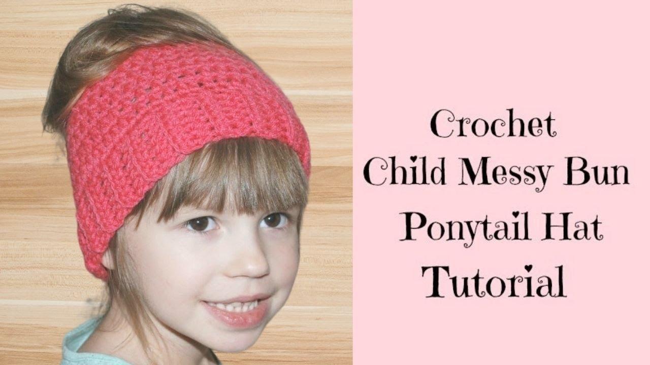 b00035929976b Crochet Child Messy Bun Ponytail Hat - Crochet Jewel - YouTube