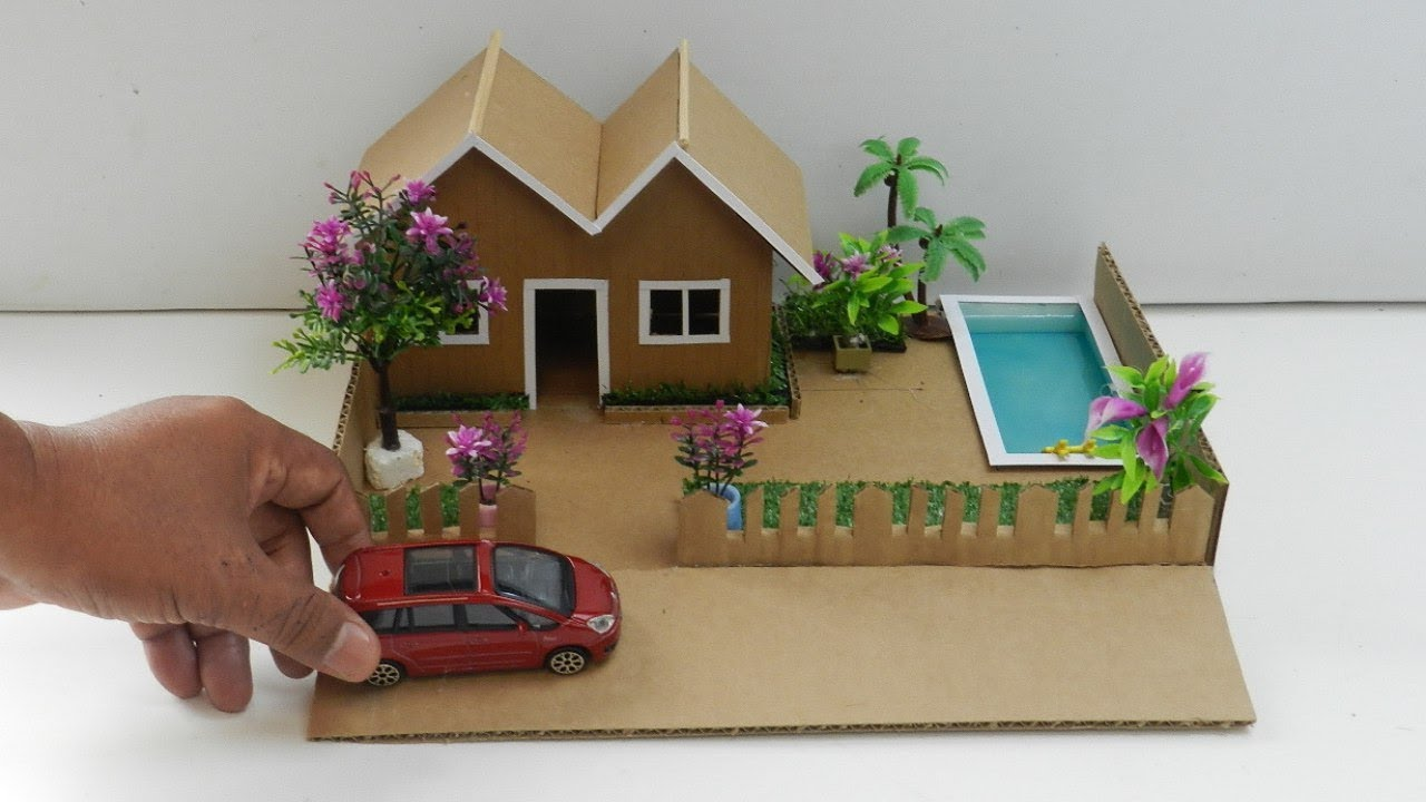 Diy Cardboard House With Pool And Garden 35 Easy Miniature Crafts