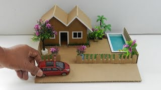 DIY Cardboard House with Pool and Garden #35 | Easy Miniature Crafts for Kids